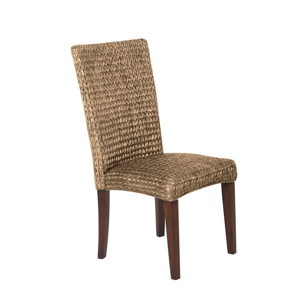 Woven Brown Natural Dining Chair     Chair Type: Dining Chairs  Material: Mahogany  Assembly: Assembly Required  Set Size: Set of 2  Finish: Natural Finish  Color: Brown  40.25 inches high x 18.25 inches wide x 22.75 inches deep       Assembly Required