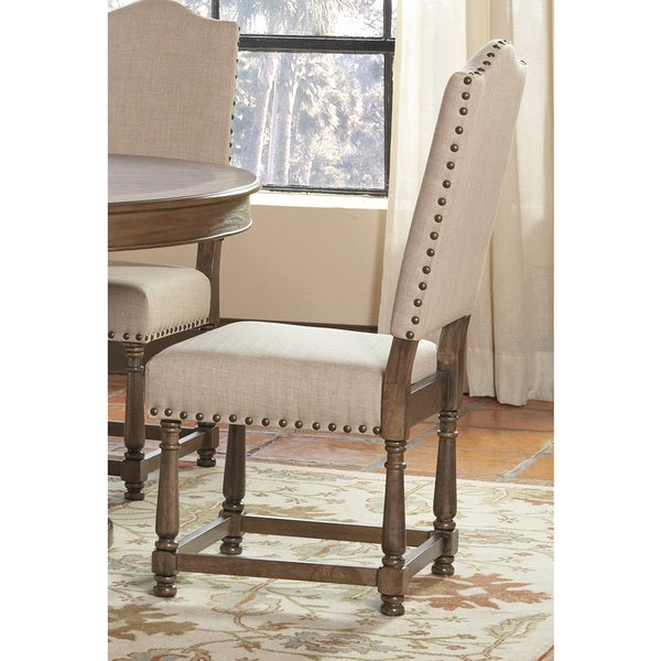 Dining chairs        Chair Type: Dining Chairs   Material: Wood, Linen   Assembly: Assembly Required   Set Size: Set of 2   Color: Brown  Dimensions: 43 inches high x 26 inches wide x 20 inches deep         Assembly Required