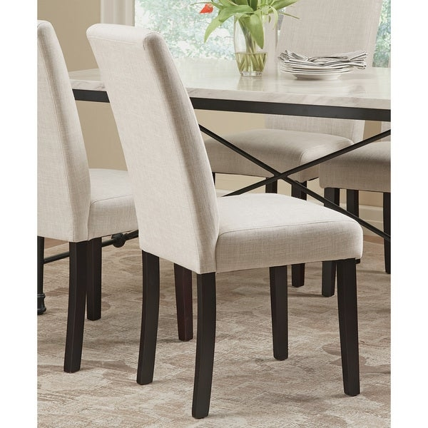 BEIGE CHAIR        Chair Type: Parson Chairs   Material: Linen, Wood, Foam   Assembly: Assembly Required   Set Size: Set of 2   Color: Brown   Dimensions: 18 inches x 22.5 inches x 39 inches       Assembly Required        Assembly Required