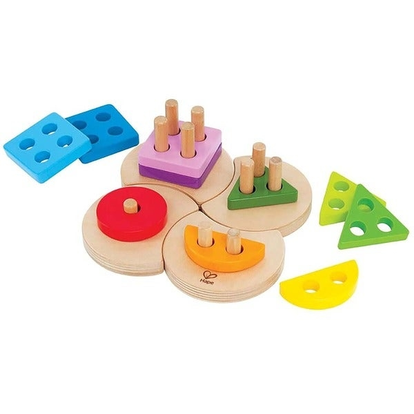 Combine creative play with fun learning by having your child use this geometric sorter toy during playtime. The sorter features numerous pieces in various sizes and colors that need to be sorted and stored on the wooden base.     Spark creative learning with this colorful geometric sorter toy  Toy features numerous brightly colored shapes  Wooden base for durability and strength  Ideal for ages 12-18 months  Great for boys or girls to use