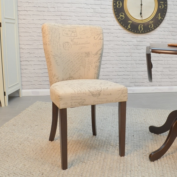 Keep guests comfortable and relaxed during intense after-dinner conversations with this set of two cozy Elodie Parsons chairs. The supportive curved backs feature just enough padding for a touch of relaxation, while the padded seats contour to your frame for a contented seating experience every time. Cream fabric printed with Parisian script perfectly complements the espresso-finish frames for a classic look ideal for rooms with traditional furnishings.    Elodie Parsons chair features cream fabric with Parisian script for traditional style  Foam padded and fabric upholstered seat and back for exceptional meal-time comfort  Wood frame with complementary espresso finish for easy integration with your table  Set includes two chairs to help you coordinate your dining space  Each chair weighs just 10 pounds for easy movement around your table  Seat measures 19 inches high x 17.5 inches wide x 16.5 inches deep  Chairs measure 35 inches high x 17.5 inches wide x 21.65 inches deep overall      Assembly Required      This product is intended for Residential Use Only.    Manufacturer's Warranty (including Return Policy) is null and void if used in an improper setting     WARNING:  Attention California residents: This product may contain formaldehyde, a chemical known to the State of California to cause cancer and birth defects or other reproductive harm.  www.P65Warnings.ca.gov