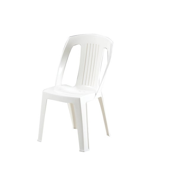 The Elba bistro chair is made of commercial-grade polypropylene that is waterproof and fade-resistant. The crisp white color will complement a variety home decors with its classic silhouette.   Features:    Bistro chair  Water-resistant  Fade proof  Made of polypropylene  White color  Made in Italy  Assembly required  Measures 29 inches long x 31 inches wide x 35 inches high    Assembly Required