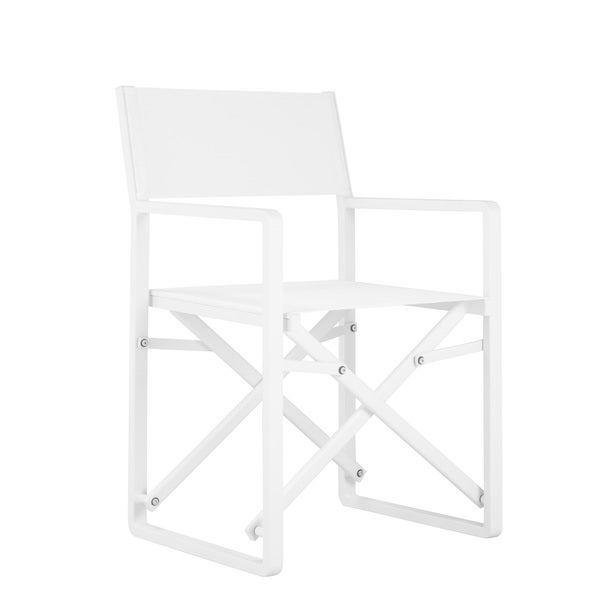Set of 2 sunset director chairs. Chairs can be used indoors or outdoors. Foldable.  Seat height is 17 inches.      Product Features: Water Resistant, Cushion Included   Chair Type: Arm Chairs, Club Chairs   Style: Contemporary, Mid-Century, Modern   Material: aluminum   Assembly: Assembled   Chair Back Height: Standard   Exact Color: White   Seats Up To: 2   Size: 2-Piece Sets   Color: white