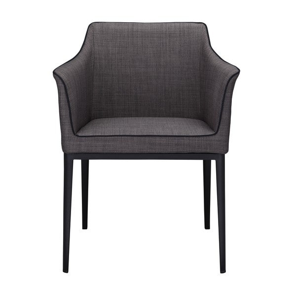 This Arm Chair is a contemporary-styled chair with low maintenance polyester upolstery and a sturdy steelframe. Dark grey upholstery with complementing back piping detail. An ideal companion to the matching Dining Chair.    Chair Type: Dining Chairs  Material: Steel, Foam, Polyester  Assembly: Assembly Required  Set Size: Single  Color: Black Dimensions: 24.4 inches wide x 21.65 inches deep x 31.49 inches high         Assembly Required