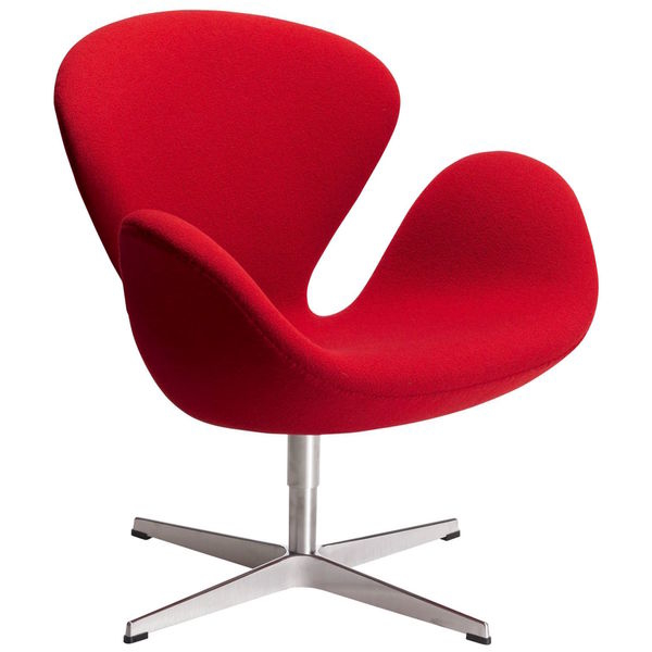 Nestle into soft comfort when you sit in this padded Swan chair. The sturdy fiberglass shell and strong aluminum frame provide rugged durability, while the vibrant red wool fabric offers enduring style and durability.    Product Features: Swivel  Chair Type: Accent Chairs  Style: Contemporary, Mid-Century, Modern  Material: Stainless Steel, Wool  Color: Red  18 inches long x 27 inches wide x 35 inches high       Assembly Required