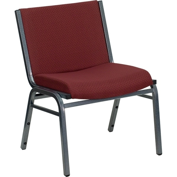 This black upholstered stack dining chair is constructed with a heavy duty tubular steel frame in a silver vein powder coated finish, with plastic bumper guards to prevent scratches when stacked and plastic floor glides. Features burgundy patterned fabric upholstery on back, and a 3 inch thick cushion seat for ultimate comfort and support. This chair can be used at home, wedding ceremonies, training rooms, conference meetings, hotels, conventions, schools and any small or large gatherings for comfortable and practical seating arrangements.  1000 lb. weight capacity.     Stacks up to 12 chairs.        Chair dimensions: 31.25 inches High x 24.25 inches Wide x 23.5 inches Deep    Seat dimensions: 18 inches High x 20 inches Wide x 17 inches Deep          Chair Design: Side Chair   Chair Type: Dining Chairs   Style: Casual, Contemporary, Modern   Material: Microfiber, Metal   Assembly: Assembly Required   Set Size: Single   Seat Height: Short - 16-22 in.   Chair Back Height: Standard   Back Style: Solid Back   Exact Color: Burgundy   Finish: Powder Coated   Color: Red          This product will ship to you in multiple boxes.     Assembly Required