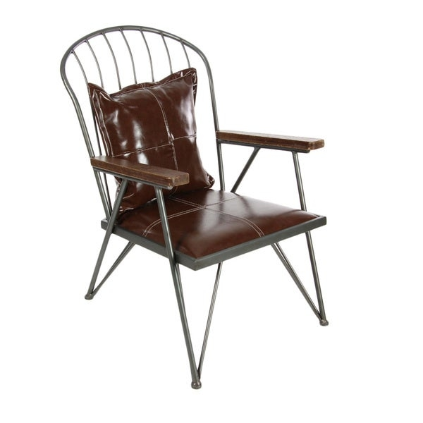 Claim your rightful seat among your guests with the arm chair. Chair has an industrial iron frame and distressed grain leather, it is the perfect chair to add some originality into your home. This chair will not go out of style and is sure to last.    Chair Type: Accent Chairs  Material: Iron  Style: Modern  Assembly: Assembled  Print: Solid  Color: Brown  25 x 28 x 34
