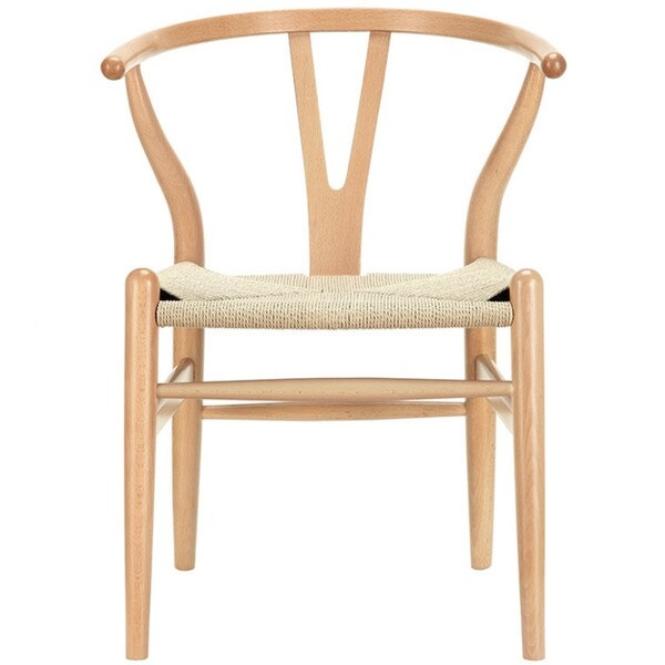Not just a classic piece inspired from  mid-century Danish furniture design, this dining chair is sturdy, durable and very well made. The frame is solid beech wood and the woven seat is natural cord, woven beautifully around the frame to form a sturdy seat.      Chair Design: Side Chair  Chair Type: Dining Chairs, Accent Chairs  Material: Wood  Style: Contemporary, Mid-Century, Modern  Assembly: Assembled  Back Style: Decorative  Color: Clear, Brown