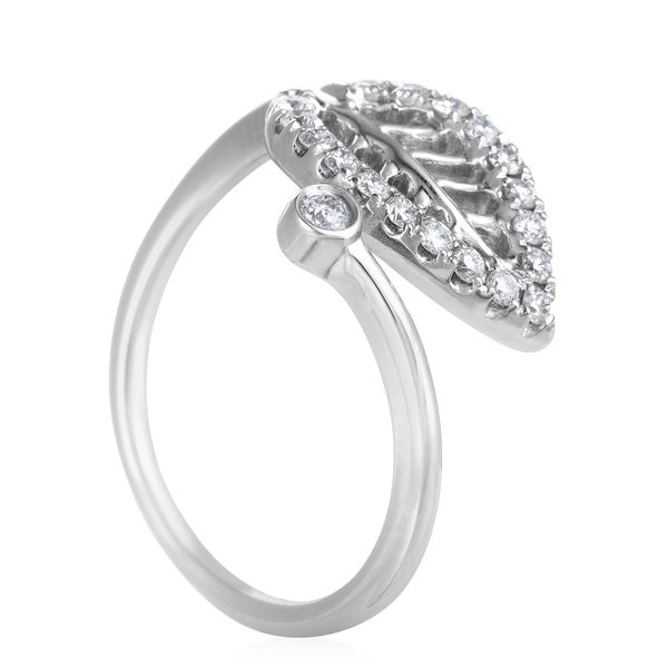 Click here for help finding your ring size.   Marvelously designed and expertly crafted from prestigious white gold, the appealing motif of a leaf is embellished with resplendent diamonds weighing in total 0.20ct in this charming ring. Ring Top Dimensions: 12 x 11mm     All measurements are approximate and may vary slightly from the listed dimensions.      T.W. (total weight) is approximate. The weight may vary up to two-tenths of a carat.      Treatment code N for main stone. See   Treatment Guide   for all treatment code information.