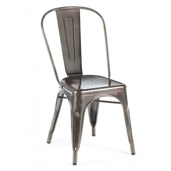 Complete your kitchen decor with this convenient armless chair. The reliable metal construction ensures resistance to wear and impact for maximum durability, and the modern design with a silver-tone finish easily complements modern decor.    Material: Metal  Color: Silver-tone  Chair type: Dining chair  Chair design: Side chair  Style: Modern  Back style: Slat back  Assembly: Assembled  Country of origin: China
