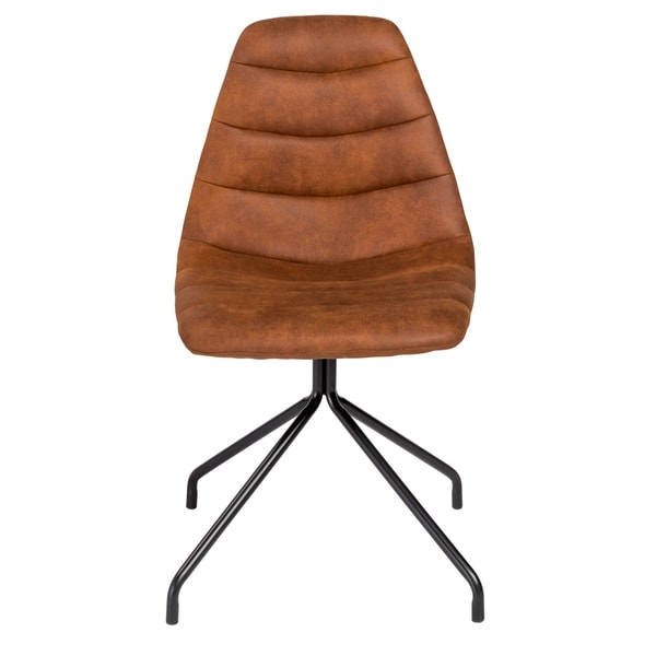 The Steve Side Chair features vintage brown leatherette on four steel legs. Soft, yet sturdy, it works well in the dining room, living room, or office.       Chair Design: Arm Chair     Chair Type: Dining Chairs, Sets     Material: Faux Leather, Steel     Style: Modern, Contemporary     Assembly: Assembly Required     Set Size: Set of 2     Seat Height: Short - 16-22 in.     Chair Back Height: Standard     Back Style: Solid Back     Finish: Powder Coated     Color: Brown        Assembly Required