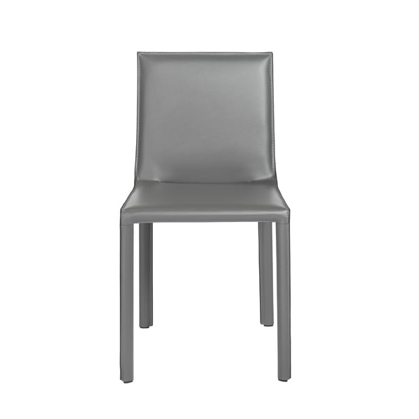 Fully upholstered regenerated leather chairInternal powder coated steel frame      Chair Design: Arm Chair  Chair Type: Dining Chairs, Sets  Style: Modern, Contemporary  Material: Bonded Leather, Steel  Assembly: Assembled  Set Size: Set of 2  Chair Back Height: Standard  Seat Height: Short - 16-22 in.  Back Style: Solid Back  Color: Grey