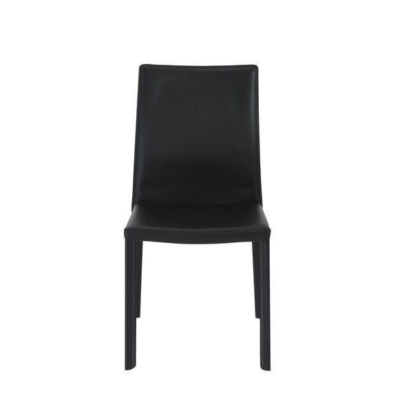 Regenerated leather seat, back and legs on steel frame Internal powder coated metal frame      Chair Design: Arm Chair  Chair Type: Dining Chairs, Sets  Material: Bonded Leather, Steel  Style: Modern, Contemporary  Assembly: Assembled  Set Size: Set of 2  Seat Height: Short - 16-22 in.  Chair Back Height: Standard  Back Style: Solid Back  Color: Black