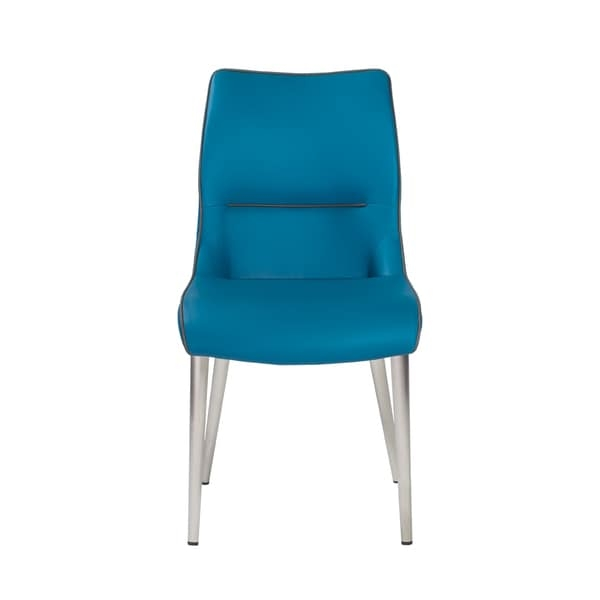 Soft leatherette over the foam seat and back Round brushed stainless steel tapered legs      Chair Design: Arm Chair  Chair Type: Dining Chairs, Sets  Style: Modern, Contemporary  Material: Bonded Leather, Stainless Steel  Assembly: Assembly Required  Set Size: Set of 2  Chair Back Height: Standard  Seat Height: Short - 16-22 in.  Back Style: Solid Back  Finish: Brushed  Color: Blue            Assembly Required