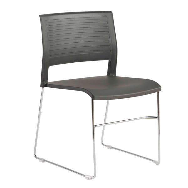 The Renate Chair is a simple, durable chair that will work for anyone. The plastic seat with a molded design comes in gray, white, or eye-catching red. The base is beautiful chromed steel, strong enough for contract use. The chairs are stackable for quick and easy storage.                Chair Design: Side Chair     Chair Type: Dining Chairs, Sets     Material: Polypropylene, Steel, Chrome     Style: Contemporary, Modern     Assembly: Assembled     Set Size: Set of 4     Back Style: Solid Back     Finish: Chrome Finish     Color: Black