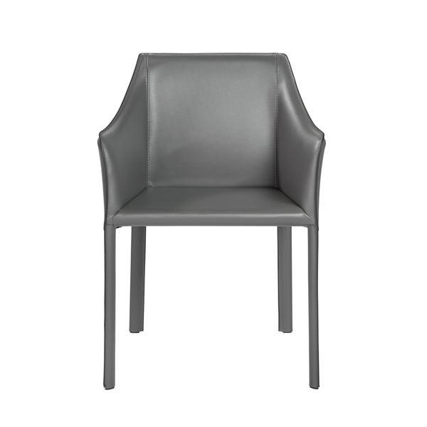 Fully upholstered regenerated leather arm chair Internal powder coated steel frame      Chair Design: Arm Chair  Chair Type: Dining Chairs, Sloped Arm  Style: Modern, Contemporary  Material: Bonded Leather, Steel  Assembly: Assembled  Set Size: Single  Back Style: Solid Back  Color: Grey