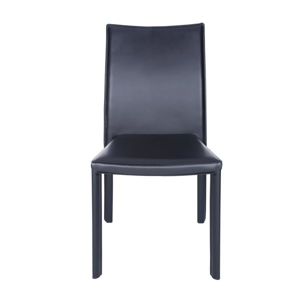 Fully upholstered hard leatherette chair        Chair Design: Side Chair   Chair Type: Dining Chairs, Sets   Style: Modern, Contemporary   Material: Faux Leather, Steel   Assembly: Assembled   Set Size: Set of 4   Back Style: Solid Back   Color: Black