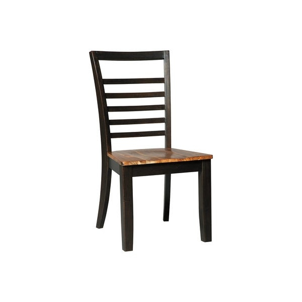 The Quinley dining room chair serves up clean-lined and contemporary style in a less is more way. Dark mocha-tone contrasting is savory and sophisticated. Thin ladderback slat design is beautifully on trend.        Chair Design: Side Chair   Chair Type: Dining Chairs   Material: Wood, MDF, Metal   Assembly: Assembled   Set Size: Set of 2   Back Style: Ladder Back   Finish: Wood Finish   Color: Brown