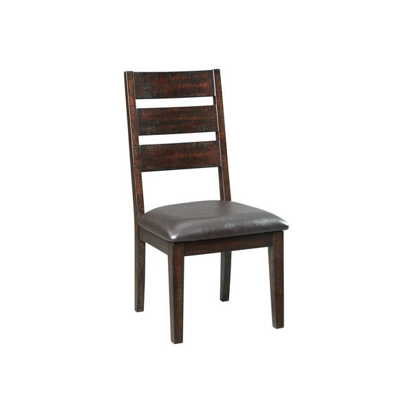 Modern eclectic style. Merging a clean-lined profile with sumptuous comfort, the Parlone dining room chair is a fresh take on the classic ladderback.        Chair Design: Side Chair   Chair Type: Dining Chairs   Material: Wood, MDF, Metal   Assembly: Assembled   Set Size: Set of 2   Back Style: Ladder Back   Finish: Wood Finish   Color: Brown