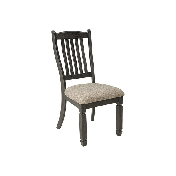 Invite your family into the heart of your home with the Tyler Creek upholstered dining room chair. Slat back and tapered legs are a sturdy frame. Black finish is beautifully textured.        Chair Design: Side Chair   Chair Type: Dining Chairs   Material: Wood, MDF, Metal   Assembly: Assembled   Set Size: Set of 2   Back Style: Slat Back   Finish: Wood Finish   Color: Grey
