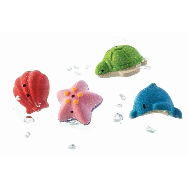 Splash and make waves in the bath with this set. The fun never ends! Float them on the water, fill'em up and squirt the water out. Set of 4 animals: Shell, Starfish, Turtle, and Dolphin. Made in PlanWood. For more than 30 years, PlanToys has been consistently developing its products and activities with a strong commitment to contribute positively to the world. By implementing best practices and taking innovation of toy-making and design to the next level, PlanToys is not only known as being the first company to manufacture wooden toys from preservative-free rubber wood, we are a leading company that has created a new material and process as part of our zero waste goals. Continuing our commitment for a sustainable future, PlanToys has introduced PlanWood as another high quality, safe, and sustainable material in our toy-making process. Set of 4 animals: Shell, Starfish, Turtle, and Dolphin. Float them on the water, fill'em up and squirt the water out. Great tub toy or for water play. For ages 6 months and up.     WARNING:   Attention California residents: This product may contain chemicals known to the State of California to cause cancer and birth defects or other reproductive harm.   www.P65Warnings.ca.gov