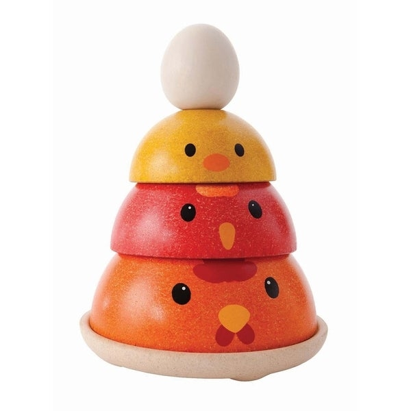 This basic nesting toy comes with a chicken theme. It consists of 4 pieces and a circle base. Children are able to learn about the sequencing, life cycle of a chicken and play in various styles. Made in PlanWood. For more than 30 years, PlanToys has been consistently developing its products and activities with a strong commitment to contribute positively to the world. By implementing best practices and taking innovation of toy-making and design to the next level, PlanToys is not only known as being the first company to manufacture wooden toys from preservative-free rubber wood, we are a leading company that has created a new material and process as part of our zero waste goals. Continuing our commitment for a sustainable future, PlanToys has introduced PlanWood as another high quality, safe, and sustainable material in our toy-making process. This material will be used in harmony with our solid rubber wood. PlanWood is an eco-friendly material because the waste is minimized and fewer trees are reclaimed. The less energy, used to produce PlanWood ultimately reduces our environmental impact. PlanToys values have been rooted from embracing Mother Nature. Nesting toy with a chicken theme. To learn about the sequencing, life cycle of a chicken and play in various styles. 4 pieces and a circle base. Made from sustainable rubber wood and coated with a non-toxic finish, all colors are made from vegetable dye. For ages 3 years and up.