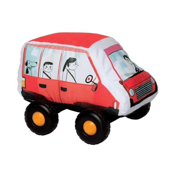 "Introduce your toddler to their first, safe toy vehicle with the Bumpers by Manhattan Toy! With a soft-body and smooth, graphic printed fabric, these durably constructed toy vehicles are ready for whatever your little can throw at them. The wheels on each Bumper vehicle click with every roll and each toy vehicle in the collection features a Velcro-like tag in the front and back - lock them all together for a train-like playset. The current Bumpers lineup includes a toy SUV, Hatchback, School Bus and Firetruck. Let imaginations soar with these entry level toy vehicles! Since 1979, Manhattan Toy has been making award-winning, high quality, educational toys for your baby, toddler or kid. From toddler toys and playsets to trains and toy vehicles, our goal is to provide the safest and best toys available. All of our products, from the newest concepts to our time-tested classics, are innovatively designed to inspire imaginative play and are routinely safety tested to pass strict CPSC, ASTM, EN71 and Health Canada safety standards. Bumper toy vehicles by Manhattan Toy feature a safe, soft-bodied construction with smooth rolling plastic wheels. Bumpers are a perfect first vehicle toy for your little hands-on explorer - no hard angles, sharp pieces or small parts. These toddler toy vehicles are covered in a durable fabric with printed graphics, featuring wheels that click with every roll. Each Bumper vehicle features a Velcro-like strip at the front and back - attach the Bumpers together for a train-like vehicle playset. Bumpers are a suitable toy for ages 1 year and up, each vehicle measures 6.5"" x 9"" x 7""."