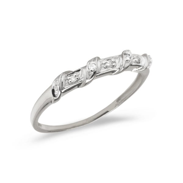 Diamond fashion promise ring set in 10k white gold (.03 total ct weight).      All measurements are approximate and may vary slightly from the listed dimensions.       Click here for help finding your ring size.       T.W. (total weight) is approximate. The weight may vary up to two-tenths of a carat.        Treatment code N for main stone. See   Treatment Guide   for all treatment code information.