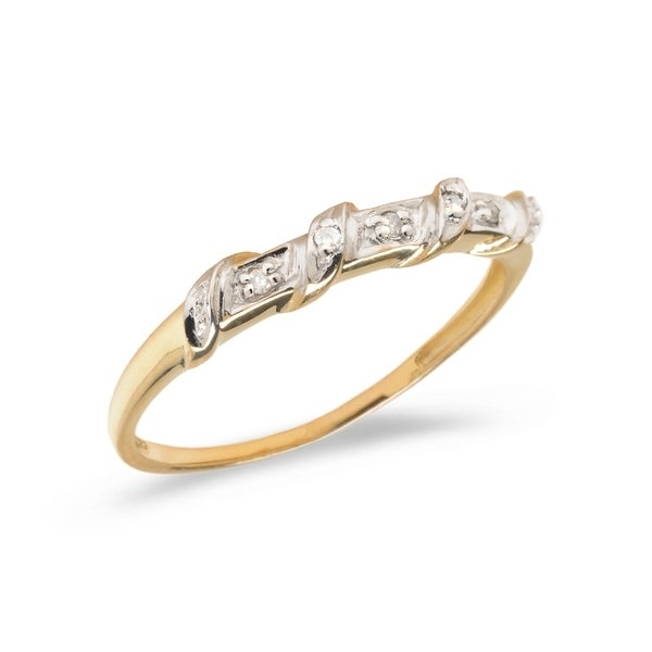 Diamond fashion promise ring set in 10k yellow gold (.03 total ct weight).      All measurements are approximate and may vary slightly from the listed dimensions.       Click here for help finding your ring size.       T.W. (total weight) is approximate. The weight may vary up to two-tenths of a carat.        Treatment code N for main stone. See   Treatment Guide   for all treatment code information.