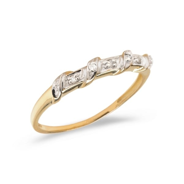 Diamond fashion promise ring set in 14k yellow gold (.03 total ct weight).      All measurements are approximate and may vary slightly from the listed dimensions.       Click here for help finding your ring size.       T.W. (total weight) is approximate. The weight may vary up to two-tenths of a carat.        Treatment code N for main stone. See   Treatment Guide   for all treatment code information.