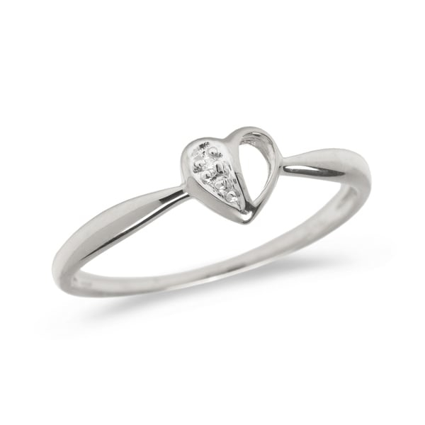 Diamond heart promise ring set in 14k white gold (.01 total ct weight).      All measurements are approximate and may vary slightly from the listed dimensions.       Click here for help finding your ring size.       T.W. (total weight) is approximate. The weight may vary up to two-tenths of a carat.        Treatment code N for main stone. See   Treatment Guide   for all treatment code information.