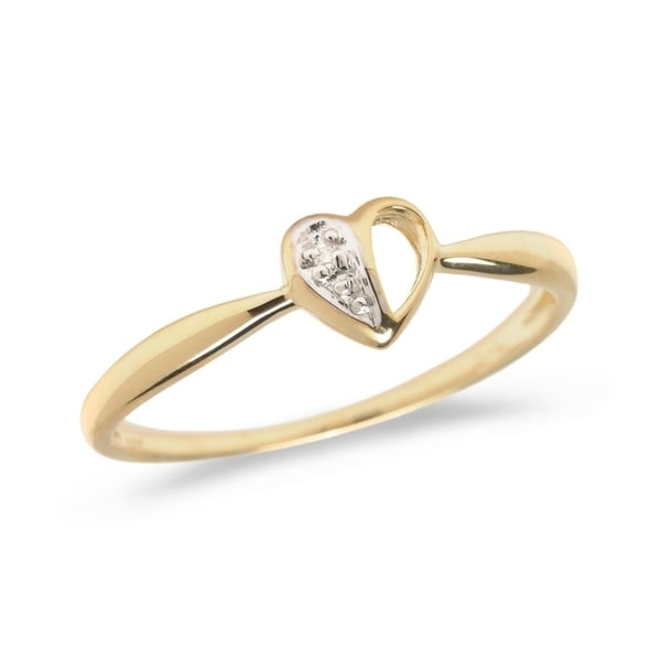 Diamond heart promise ring set in 14k yellow gold (.01 total ct weight).      All measurements are approximate and may vary slightly from the listed dimensions.       Click here for help finding your ring size.       T.W. (total weight) is approximate. The weight may vary up to two-tenths of a carat.        Treatment code N for main stone. See   Treatment Guide   for all treatment code information.