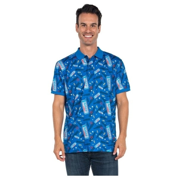 Officially licensed men's Natural Light polo shirt. Comes in blue and features Natural Light can logos printed all over.     Measurement  Guide    Click here to view  our Men's Sizing Guide     All measurements are approximate and may vary by size.