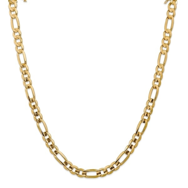 Boast your personal style with this delicate 9-inch long and 7.5mm wide anklet crafted from 10 karat yellow gold. This concaved Figaro chain anklet gleams with polished finish and diamond cut detailing for classy look. Lobster clasp keeps this striking anklet in place and weighs approximately 12.99 grams.   Features:   Jewelry Type: Fine  Metal Weight: 12.99 grams  Anklet Type: Concave Figaro Chain Anklet  Jewelry Finish: High Polish, Diamond-cut  Gender: Women's  Clasp: Lobster Claw  Metal: Gold  Gold Karat: 10 Karat  Metal Color: Yellow  Dimensions: 9-inch x 7.5mm   Click here for help finding your ring size.     All weights and measurements are approximate and may vary slightly from the listed information.        All measurements are approximate and may vary slightly from the listed dimensions.