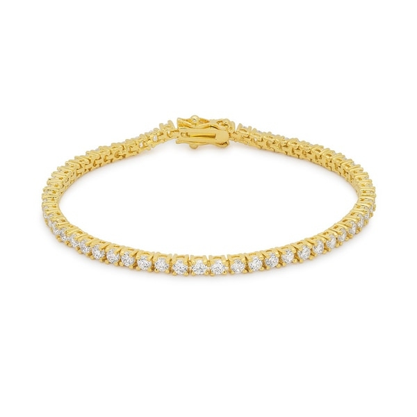 Fashion jewelry accentuates any ensemble    Goldtone cubic zirconia tennis bracelet    Bracelet is perfect accessory for any wardrobe    Round clear cubic zirconia     All carat weights and measurements are approximate and may vary slightly from the listed dimensions. Treatment code CR. See   Gemstone Treatments   for further information.         All measurements are approximate and may vary slightly from the listed dimensions.        T.W. (total weight) is approximate. The weight may vary up to two-tenths of a carat.