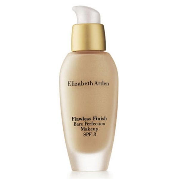 Give your skin a firm, smooth look and feel with Elizabeth Arden Flawless Finish Bare Perfection makeup   Makeup offers SPF 8 to protect the health of your face   Multi-benefit makeup formula reflects light to soften the look of fine lines   Medium coverage    Natural finish    Oil free    1 fluid ounce /30 ml.   Available in 15 colors      Due to the personal nature of this product, we do not accept returns.