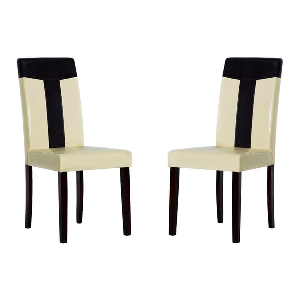 Complete your home decor with a set of Tiffany chairs    Dining room furniture set includes four chairs    Chairs are constructed of bi-cast leather and oak wood    Primary colors are brown and cream    Chair measures 22 inches long x 17.7 inches wide x 38 inches high