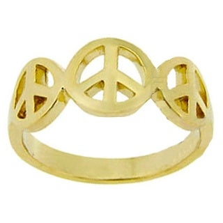 Click here for help finding your ring size.     Show your strong will for peace with this beautiful polished peace sing ring  Ring boasts three polished peace sign symbols in the center  Jewelry is crafted of 18-karat yellow gold over sterling silver  Ring setting measures 8.5 mm wide    All carat weights and measurements are approximate and may vary slightly from the listed information.    This ring  cannot  be resized.     All measurements are approximate and may vary slightly from the listed dimensions.