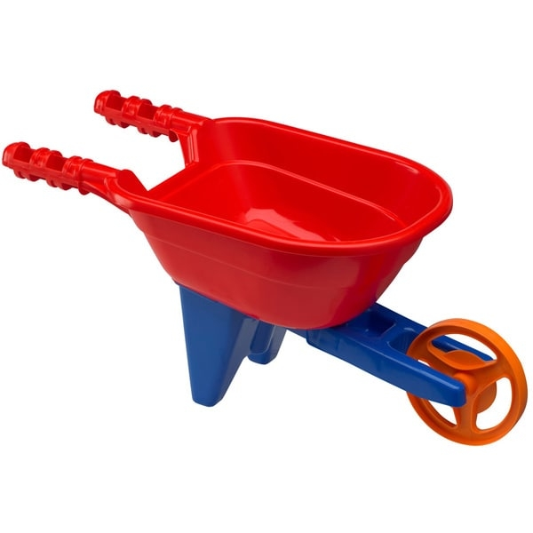 Little helpers will love assisting with the yard work with this wheelbarrow from American Plastic Toys. The wheelbarrow is great for hauling leaves, twigs, and even small toys around the yard. Made from durable plastic, this wheelbarrow was built to last endless hours of outdoor fun.         Brand: American Plastic Toys     Wheelbarrow Toys     Model: 02580     Colors: Green     This large wheelbarrow is made to look just like the real thing     It's perfect for hauling those heavy loads     Weight: 1.7 pounds     Recommended for ages 3 years and older     Materials: Plastic     Dimensions: 23 inches high x 11 inches wide x 11 inches deep     Pack of 4