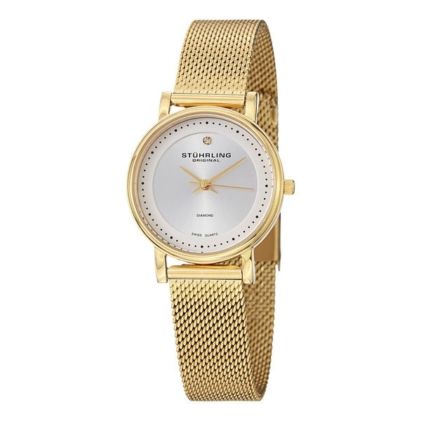 "Lend an air of elegance to any occasion with this classic Lady Castorra Elite watch from Stuhrling. The gold stainless steel case and watchband warm up your wardrobe while adding a hint of feminine sparkle that pairs well with sophisticated evening wear. With a soft matte background, the single diamond accent adds shine without overpowering your look. Choose this comfortable watch for everyday wear. The flexible mesh bracelet is lightweight and conforms to your skin while the surgical-grade stainless steel in the case reduces the risk of irritation. A sweeping second hand and easy-to-read date on the dial increase the functionality of this watch during your daily tasks.    Case crafted from 316L series surgical-grade goldtone stainless steel for comfort and durability  Stainless steel caseback with snap-down closure for security  Polished bezel contrasts with the matte dial  Dauphine-style hands and diamond accent for extra shine  Circle markers on the dial to tell the time more easily  Goldtone stainless steel mesh bracelet for flexibility  Foldover clasp holds watch securely on wrist  Krysterna crystal to reduce the risk of breakage  Push-pull fluted crown with Stuhrling S logo for elegant style  Swiss quartz Ronda 515 movement for accuracy  Water resistant to 5 atmospheres or 50 meters or 165 feet for use in wet environments  Case measures 29.0 mm W x 29 mm large x 7.13 mm tall  Strap measures 14.0 mm W x 8.5"" L  Watch model number is LW734LMS04O     All measurements are approximate and may vary slightly from the listed dimensions.     Women's watch bands can be sized to fit 6.5 to 7.5-inch wrists.   Click here to view our  Watch Sizing Guide .      All measurements are approximate and may vary slightly from the listed dimensions."