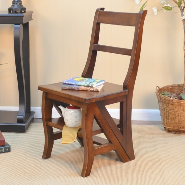 Save space and add charming style to your home with this ladder chair. Folded, it offers a place to sit with a storage shelf underneath. When unfolded, this wood chair transforms to a quaint step ladder sturdy enough to climb. Leave the chair unfolded for maximum storage and display space. Its rich finish ensures coordination with any room's decor.  This dual-function folding wood library ladder chair offers a clever way to reach high places. When folded up, this chair includes an extra shelf under seat that provides additional storage space. The chair is made of sturdy wood, giving you a sturdy furnishing that blends with both traditional and modern design themes.    Perfect for around the house  Beautiful multi-step finish  When used as a chair handy lower shelf provides a small storage area  Set includes: One (1) ladder chair  Materials: Wood  Finish options: Chestnut stain, antique black paint  Weight: 20 pounds  Seat dimensions: 17.125 inches high x 16.5 inches wide x 14.875 inches deep  Chair dimensions: 34 inches high x 16.5 inches wide x 20 inches deep  Ladder dimensions: 34 inches high x 16.5 inches wide x 28.25 inches deep     This product is intended for Residential Use Only.     Manufacturer's Warranty (including Return Policy) is null and void if used in an improper setting        Assembly Required
