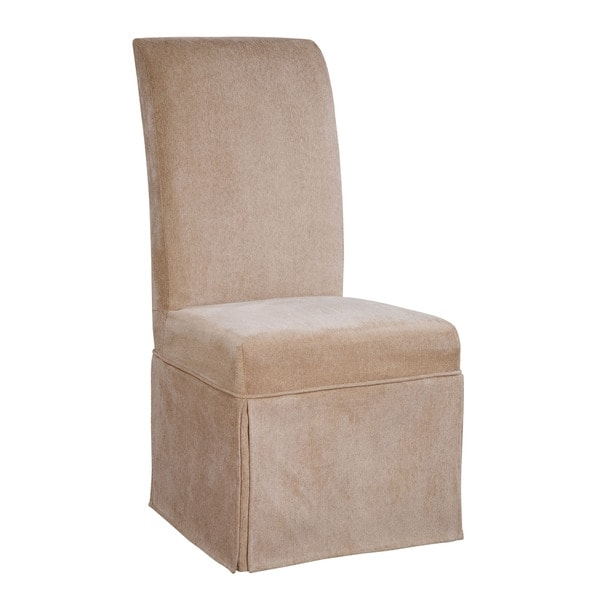 Transform your existing chairs with the Powell Parsons Chair slipcover. Made of comfortable chenille, this slipcover will not only make your accent chair more fashionable, but also provides an extra layer of protection.    Materials: Chenille; 66-percent rayon, 34-percent polyester  Color: Tan  Dimensions: Fits chair sized 20 inches long x 25 inches wide x 41 inches high; seat height 18.5 inches  Fits Powell Parsons Chair, item #741-440; chair is not included