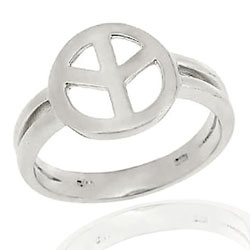 Show your strong will for peace with this beautiful polished peace sign ring  Ring boasts a high polished peace sign symbol in the center  Jewelry piece is crafted of sterling silver  Ring front measures 12 mm in diameter  Band measures 3 mm wide    All carat weights and measurements are approximate and may vary slightly from the listed information.       Click here for Ring Sizing Chart    This ring  cannot  be resized.       All measurements are approximate and may vary slightly from the listed dimensions.       Click here for help finding your ring size.