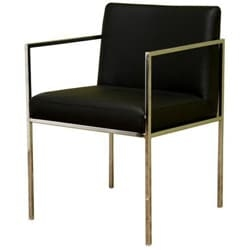 Steel and leather come together to create a contemporary chair   Chair features elements of both simplicity and timelessness   Dining chair has a thin, yet sturdy steel frame covered in chrome   Chair measures 20.75 inches wide x 22 inches deep x 31 inches high   Seat height is 18 inches   Seat depth is 17.5 inches   Arm height is 25.75 inches   Foam-padded and bonded leather-upholstered seat   Feet include small plastic stoppers to prevent scratching your floors