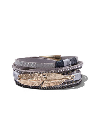 Open Cuff Bracelet Description Sleek, sophisticated style: an open silhouette makes our cuff bracelet a modern style standout. Beautifully boho chic: a feather charm and cord details infuse our wrap bracelet with free-spirited style. Chain-link trim and studs make an edgy style statement; sparkling accents add a glam finishing touch. overview Cuff bracelet. Bracelet width: 2-1/4 inches. Mixed metal. Imported. overview Wrap bracelet. Bracelet width: 1/2 inch. Mixed metal, feather. Imported.