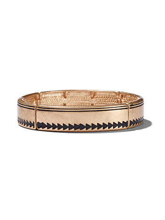 Goldtone Stretch Bracelet An arrow motif adds an edgy vibe to our stretch bracelet, crafted in a polished goldtone setting. overview Stretch bracelet. Bracelet width: 2-1/4 inches. Mixed metal. Imported.