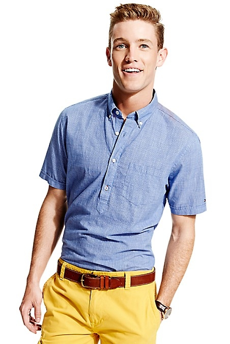 Tommy Hilfiger Men's Shirt. When In Doubt Reach For Chambray, The Goes-With-Everything Shirt Tailor Made For Summer. New York Fit (Our Slimmest Fit). 100% Cotton. Button Down Collar, Chest Pocket. Machine Washable. Imported.