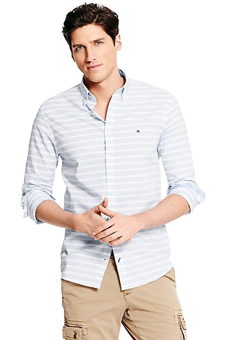Tommy Hilfiger Men's Shirt. Ideal For The Warmer Months-Our Light Weight Premium Cotton Shirt, Tailored To Look Like It Was Made For You. New York Fit (Our Slimmest Fit). 100% Cotton. Button Down Collar. Machine Washable. Imported.
