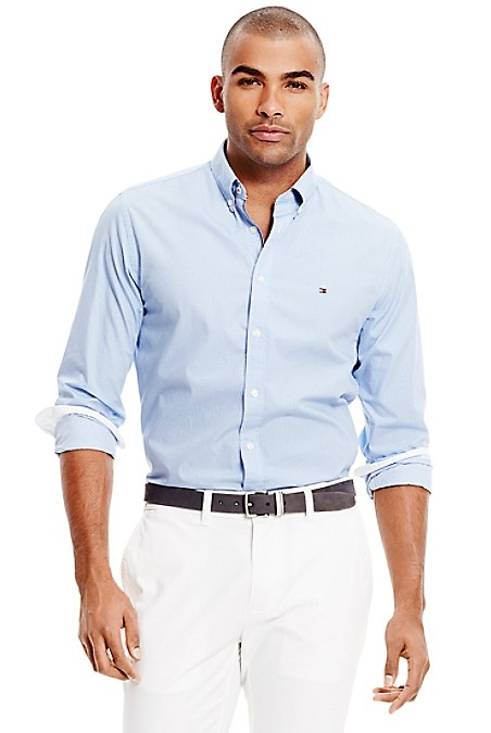 Tommy Hilfiger Men's Shirt. A Designer Favorite-Our Microdot Shirt In Light Weight Premium Cotton, Tailored To Look Like It Was Made For You. New York Fit (Our Slimmest Fit). 100% Cotton. Button Down Collar. Machine Washable. Imported.