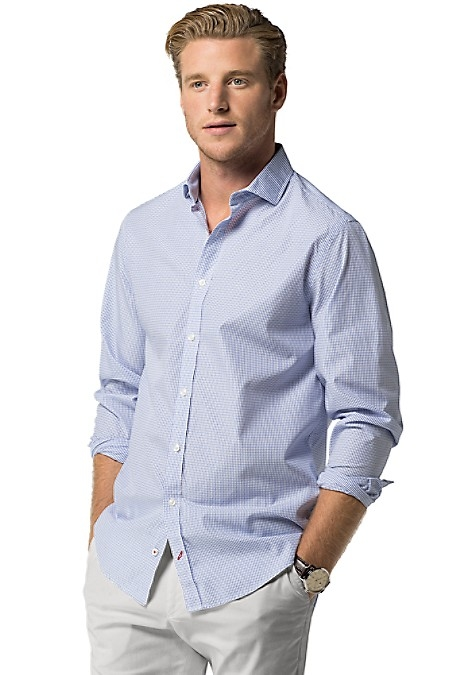 Tommy Hilfiger Men's Shirt. Soft-Washed Cotton Dobby Makes A Refreshing Change To The Ordinary Dress Shirt. Expertly Tailored In A Slim, Modern Fit. New York Fit (Our Slimmest Fit). 100% Cotton. Spread Collar. Machine Washable. Imported.